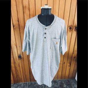 Carhartt XXL Gray short sleeve Henley work shirt